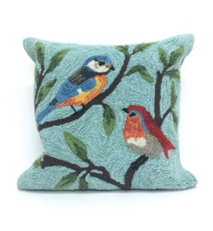 Liora Manne Frontporch Birds On Branches Indoor/Outdoor Pillow Aqua