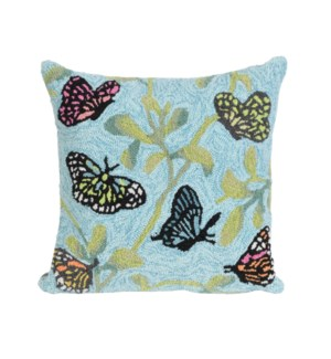 Liora Manne Frontporch Butterflies On Tree Indoor/Outdoor Pillow Mist