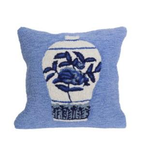 Liora Manne Frontporch Ginger Jars Indoor/Outdoor Pillow Blue