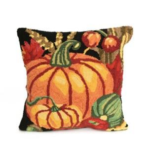 Liora Manne Frontporch Pumpkin Indoor/Outdoor Pillow Black