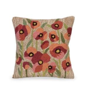 Liora Manne Frontporch Poppies Indoor/Outdoor Pillow Neutral