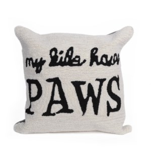 Liora Manne Frontporch My Kids Have Paws Indoor/Outdoor Pillow Neutral