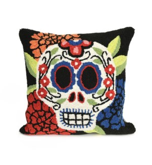 Liora Manne Frontporch Mrs. Muerto Indoor/Outdoor Pillow Black