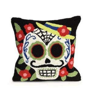 Liora Manne Frontporch Mr. Muerto Indoor/Outdoor Pillow Black