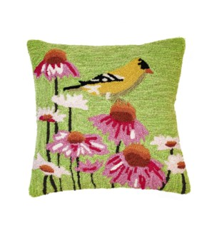 Liora Manne Frontporch Goldfinch Indoor/Outdoor Pillow Green