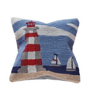 Liora Manne Frontporch Lighthouse Indoor/Outdoor Pillow Sky