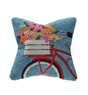 Liora Manne Frontporch Bike Ride Indoor/Outdoor Pillow Blue