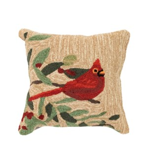 Liora Manne Frontporch Cardinal with Berries Indoor/Outdoor Pillow Natural