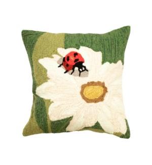 Liora Manne Frontporch Ladybug Indoor/Outdoor Pillow Green