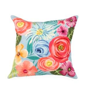 """Liora Manne Illusions Flower Garden Indoor/Outdoor Pillow Aqua 18"""" Square"""