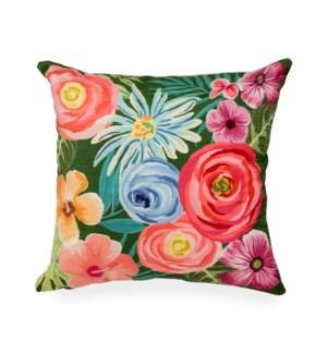 "Liora Manne Illusions Flower Garden Indoor/Outdoor Pillow Green 18"" Square"