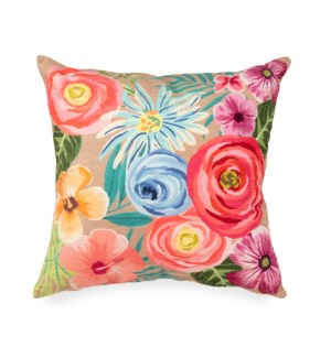 """Liora Manne Illusions Flower Garden Indoor/Outdoor Pillow Taupe 18"""" Square"""