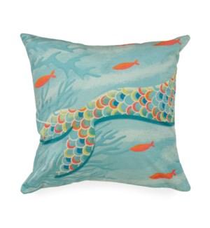 "Liora Manne Illusions Mermaid At Heart Indoor/Outdoor Pillow Ocean 18"" Square"