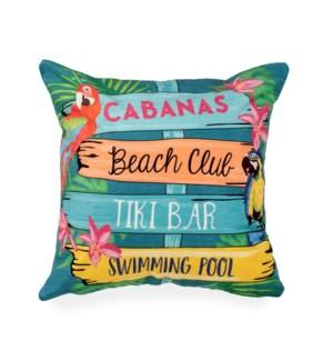 "Liora Manne Illusions Summer Signs Indoor/Outdoor Pillow Multi 18"" Square"