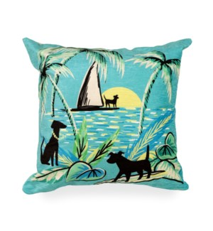 """Liora Manne Illusions Aloha Dogs Indoor/Outdoor Pillow Sunrise 18"""" Square"""