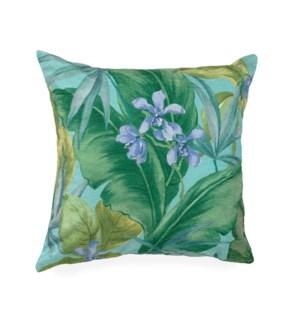 """Liora Manne Illusions Tropical Leaf Indoor/Outdoor Pillow Aqua 18"""" Square"""