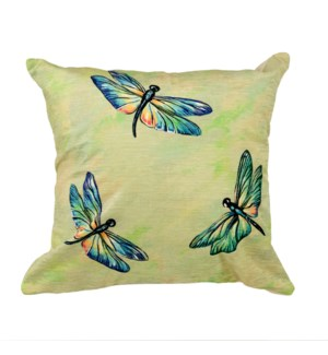 """Liora Manne Illusions Dragonflies Indoor/Outdoor Pillow Green 18"""" Square"""