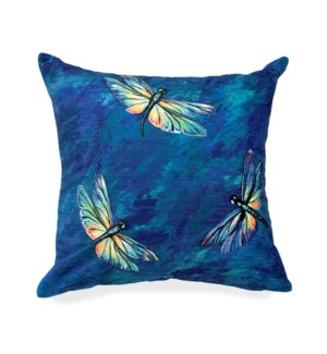 """Liora Manne Illusions Dragonflies Indoor/Outdoor Pillow Midnight 18"""" Square"""