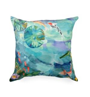 "Liora Manne Illusions Peaceful Pond Indoor/Outdoor Pillow Seafoam 18"" Square"
