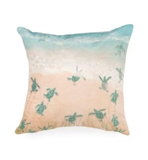 """Liora Manne Illusions Turtle Beach Indoor/Outdoor Pillow Aqua 18"""" Square"""