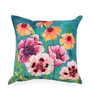 """Liora Manne Illusions Dream Garden Indoor/Outdoor Pillow Multi 18"""" Square"""