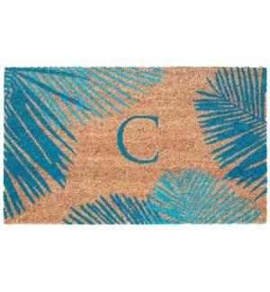Liora Manne Dwell Palm Border Outdoor Mat Blue C