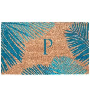 Liora Manne Dwell Palm Border Outdoor Mat Blue P