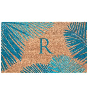 Liora Manne Dwell Palm Border Outdoor Mat Blue R