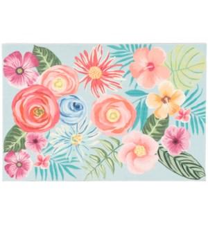 Liora Manne Illusions Flower Garden Indoor/Outdoor Mat Aqua