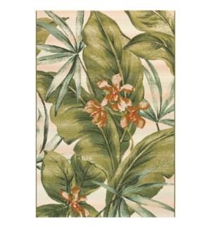 Liora Manne Marina Tropical Leaf Indoor/Outdoor Rug Cream