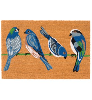 Liora Manne Natura Blue Birds Outdoor Mat Natural
