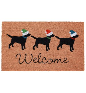 Liora Manne Natura Three Dogs Holiday Outdoor Mat Natural