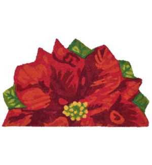 Liora Manne Natura Poinsettia Outdoor Mat Red 1/2 Round