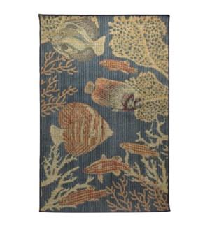 Liora Manne Patio Fishes Indoor/Outdoor Rug Navy