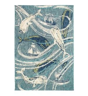 Liora Manne Portofino Whale Tale Indoor/Outdoor Rug Aqua
