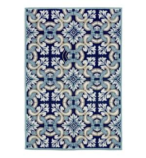 Liora Manne Ravella Floral Tile Indoor/Outdoor Rug Navy