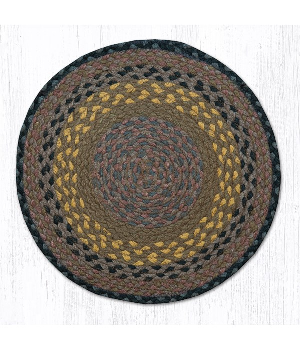 CH-99 Brown/Black/Charcoal Jute Chair Pad 15.5 x 15.5 in.x0.17 in.