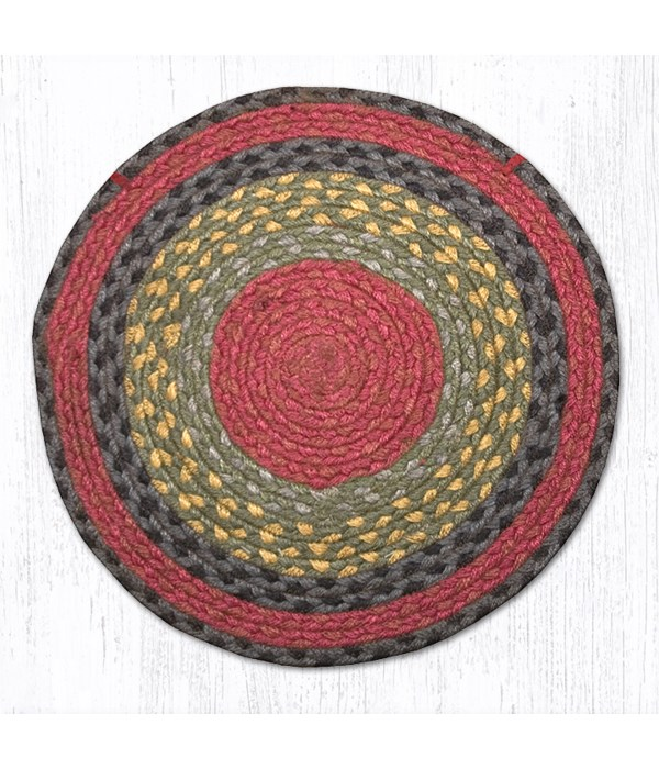 CH-238 Burgundy/Olive/Charcoal Jute Chair Pad 15.5 x 15.5 in.x0.17 in.