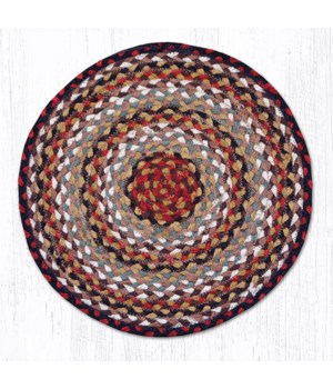 CH-319 Burgundy/Mustard/Ivory Jute Chair Pad 15.5 x 15.5 in.x0.17 in.