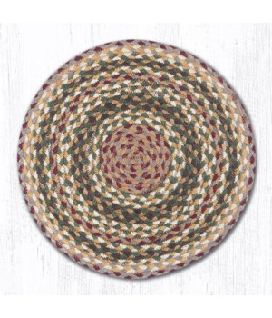 CH-324 Olive/Burgundy/Gray Jute Chair Pad 15.5 x 15.5 in.x0.17 in.