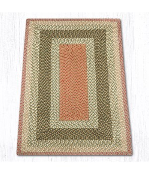 RC-24 Olive/Burgundy/Gray Oblong Braided Rug 3'x5'x0.17 in.