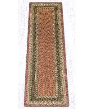 RC-24 Olive/Burgundy/Gray Oblong Braided Rug 2'x8'x0.17 in.