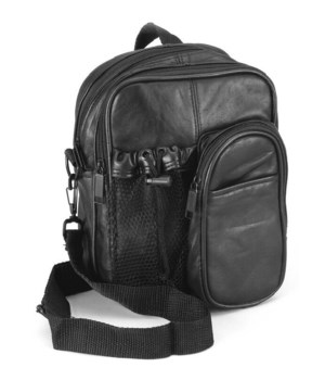 BLACK LEATHER SPORTS PURSE 9 in.