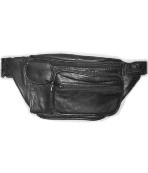 BLACK LEATHER WAIST BAG 12.5 in.