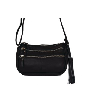 BLACK LEATHER PURSE 8 in.