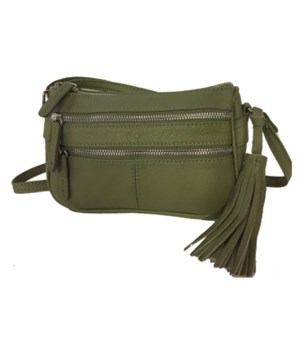 OLIVE GREEN LEATHER PURSE 8 in.