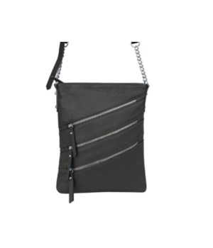 BLACK LEATHER PURSE 11 in.