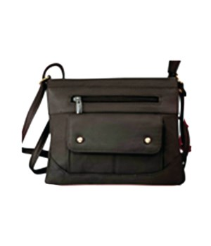 BLACK LEATHER PURSE 8.5 in.