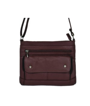 WINE LEATHER PURSE 8.5 in.