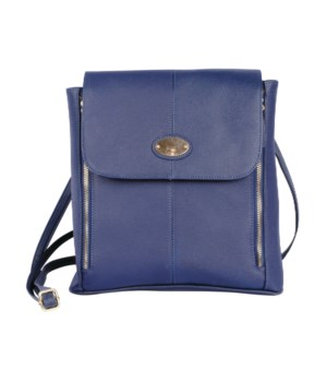 NAVY LEATHER PURSE 11 in.